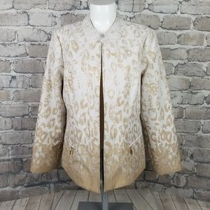 Chico's Leopard Print Open Blazer Size 1 Medium